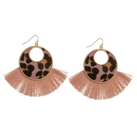 Dusty Rose Leopard spring and Tassel Earring