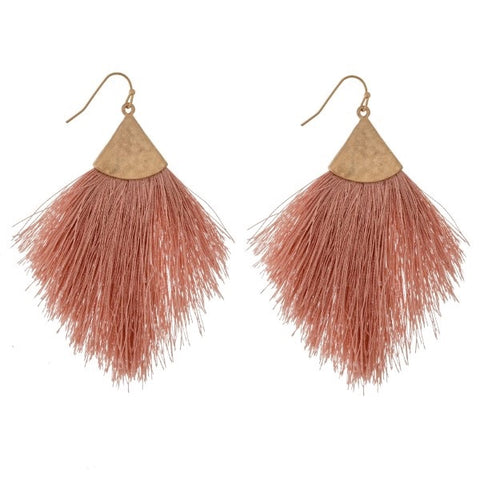 Mauve Tassle Fringe Earrings