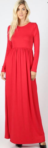 Holly Ruby Red Maxi Dress with Pockets