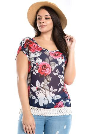 Women's plus size floral crochet top