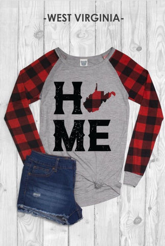 West Virginia Plaid Raglan