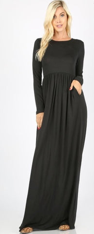 Holly Black Maxi Dress with Pockets