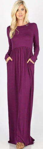 Holly Dark Plum Maxi Dress with Pockets