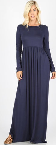 Holly Navy Maxi Dress with Pockets