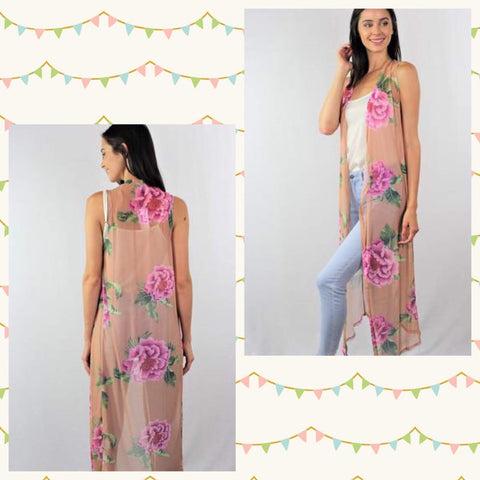 Tiffany Sleeveless Floral Maxi Duster