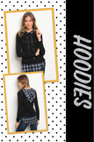 Ashley Black and Navy Plaid Hoodie
