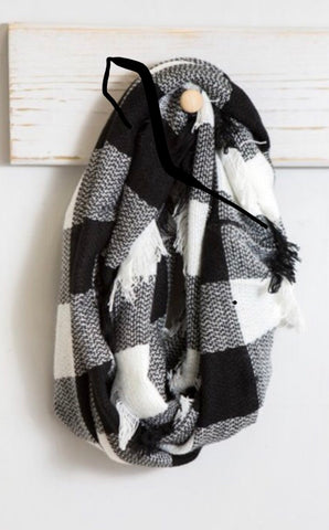 Black and White check Infinity Scarf.