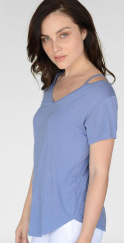 Dusty Blue Split Neck Tee