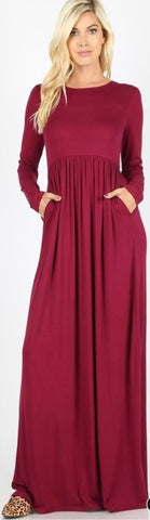 Holly Cabernet Maxi Dress with Pockets
