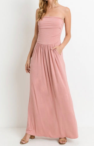 Dusty Rose Strapless Maxi with Pockets