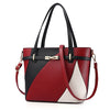 Leather Handbag Tricolour patterned Tote and Crossbody Bag