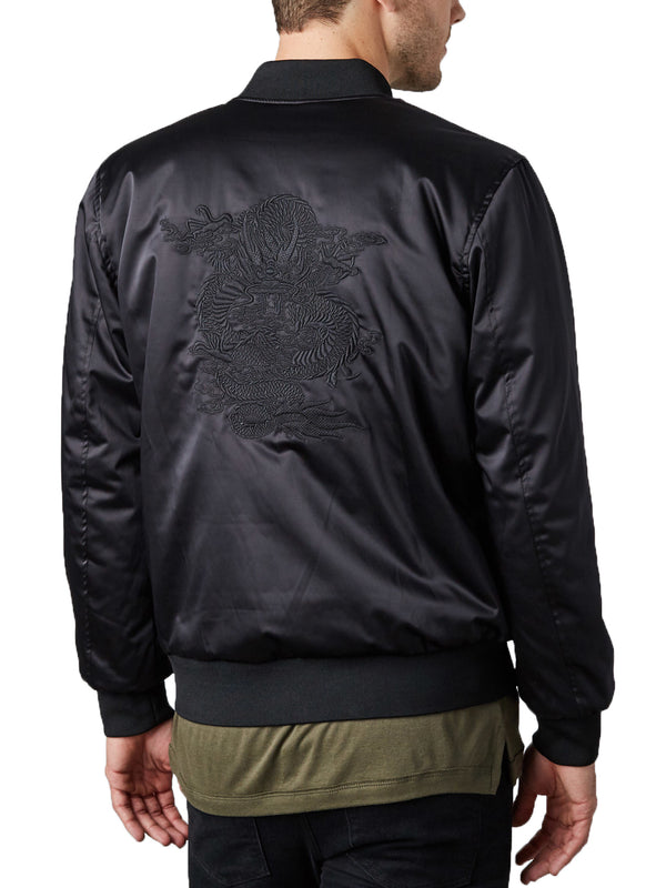 Embroidered Reversible Satin Bomber - Black / Navy Camo