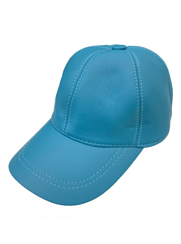 Leather Baseball Cap - Blue