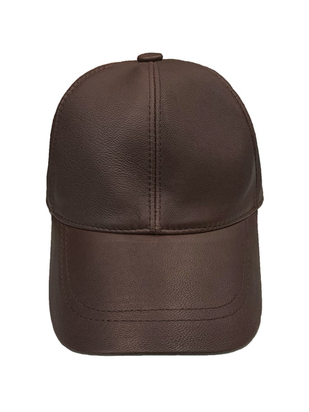 Leather Baseball Cap - Brown