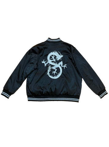 Embroidered Reversible Satin Bomber - Black / Leopard Print