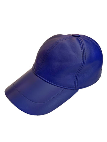 Leather Baseball Cap - Navy