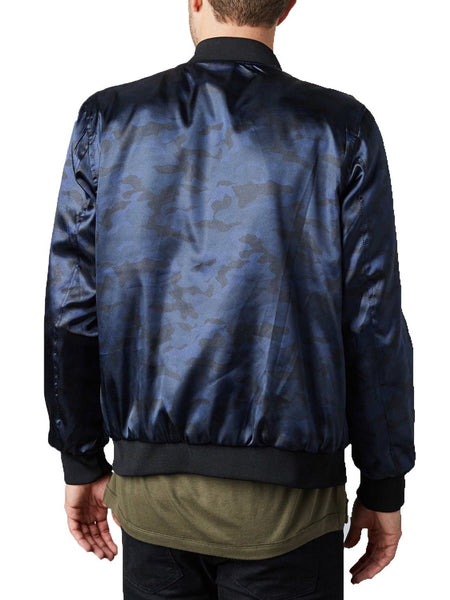 Embroidered Reversible Satin Bomber - Navy / Navy Camo