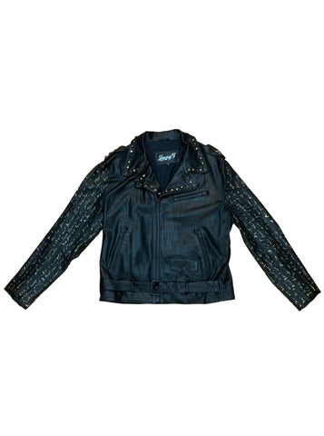 Poe Hand-Painted Stretch Leather Biker - Black / Gold