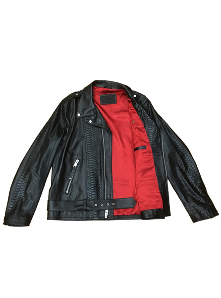 Python & Lamb Leather Biker
