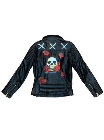 Hand-Painted Skull Leather Biker