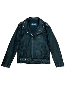 Stretch Studded Leather Biker