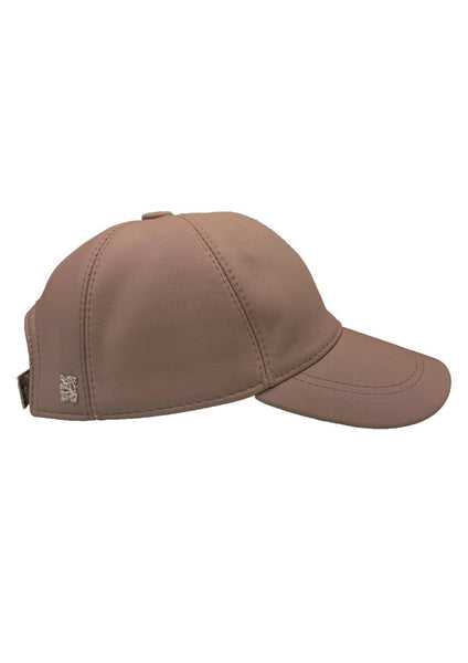 Leather Baseball Cap - Taupe