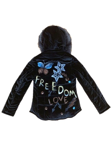 Freedom Velvet Parka with Fur Hood