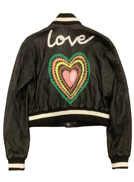 Cropped Love Heart Bomber