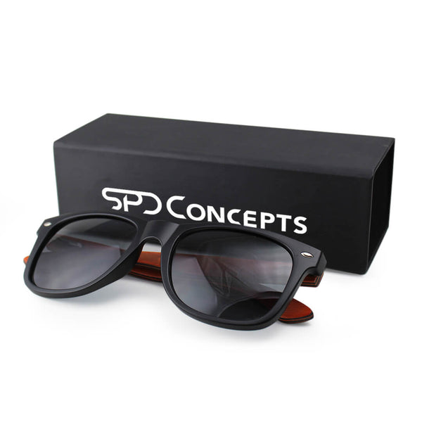 Black Laminated Wood Sunglasses with Box SPDConcepts
