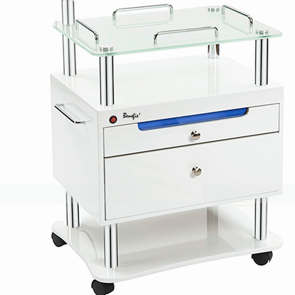 Multipurpose Professional Beauty Trolley with built in Sterilizer Draw and magnifying lamp post