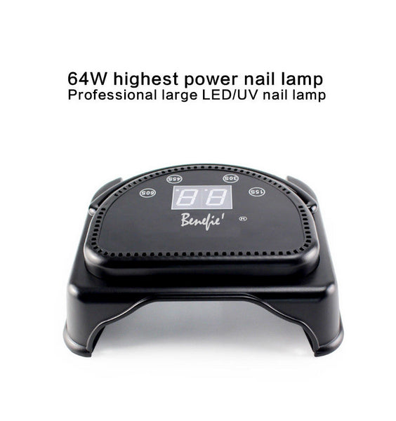 64W Benefie' Metal Shell LED Nail Lamp Gel Polish Nail Dryer Wireless Rechargeable Quick-Dry
