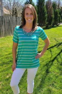Brooke Short Sleeve Striped Top