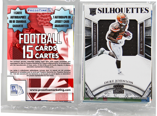 - Football 15 Card Memorabilia Presstine Pack