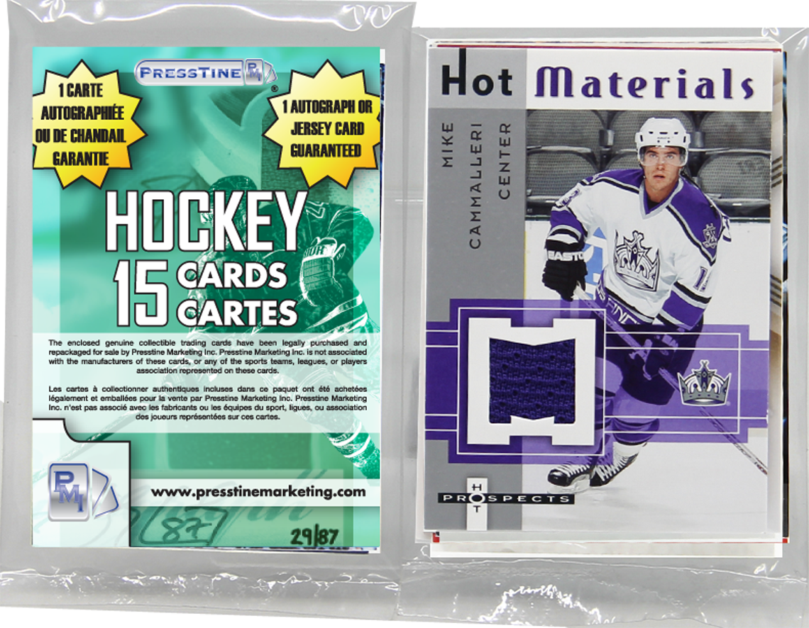 - Hockey 15 Card Memorabilia Presstine Pack