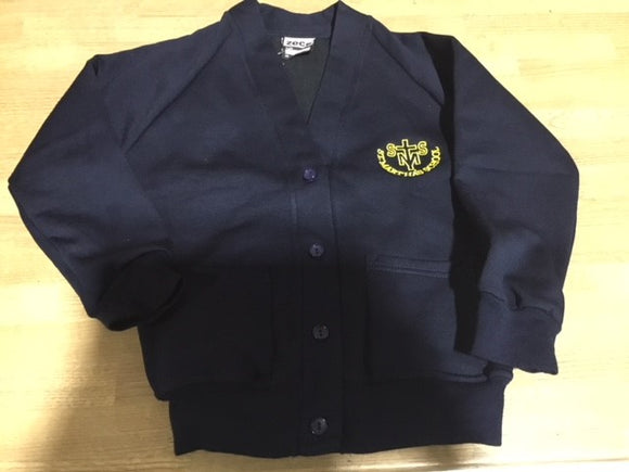 Navy Cardigan with St. Martha's School embroidery