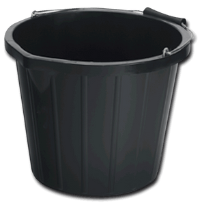 Industrial 15 litre black bucket