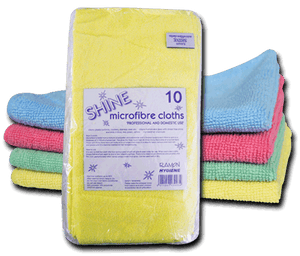 Optima 'Shine' General Purpose Microfibre Cloths Pack Of 10 (MFC210)