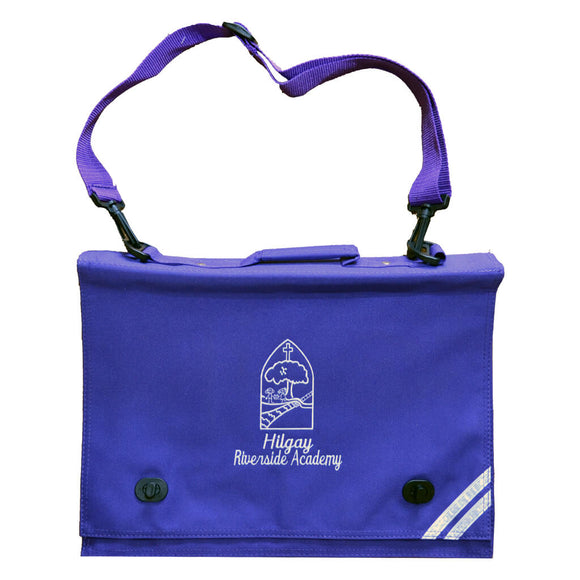 Purple Book Bag with Hilgay print