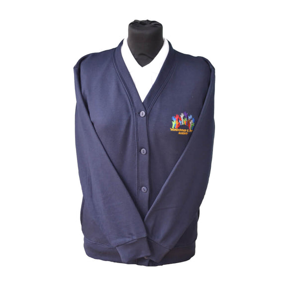 Navy Cardigan with Wimbotsham & Stow embroidery