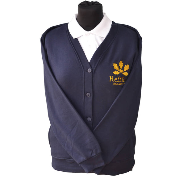 Navy Cardigan with Reffley embroidery