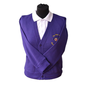 Purple Cardigan with Ten Mile Bank embroidery