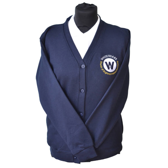 Navy Cardigan with Whitefriars embroidery
