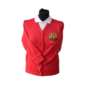 Red Cardigan with South Wootton Infants embroidery