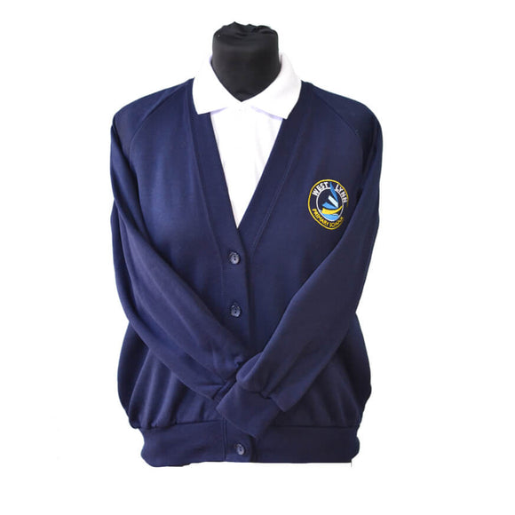 Navy Cardigan with West Lynn embroidery