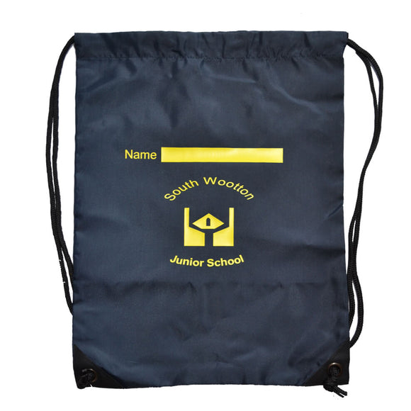 Navy PE Bag with South Wootton Junior print