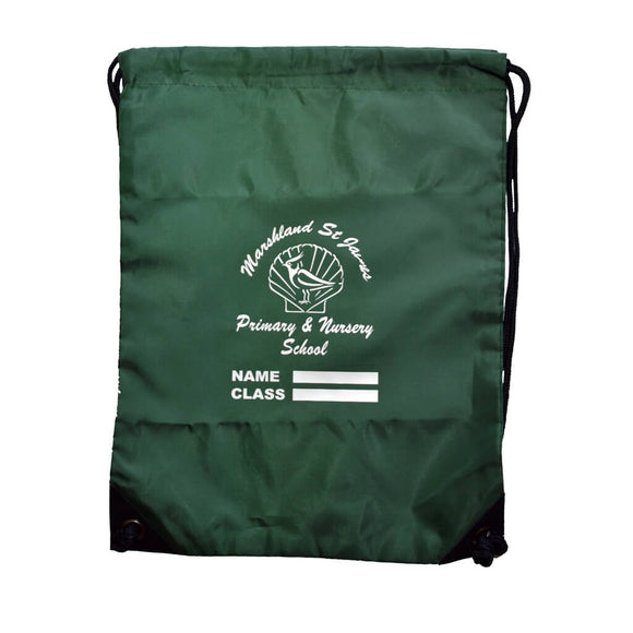 Bottle Green PE Bag with Marshland print