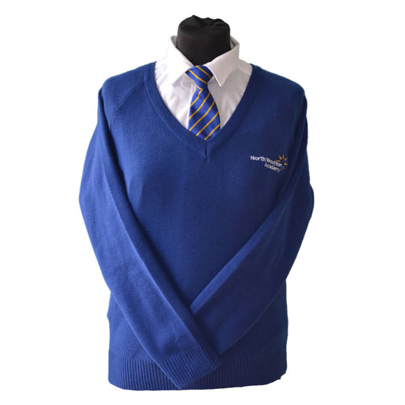 Royal Blue Jumper with North Wootton embroidery