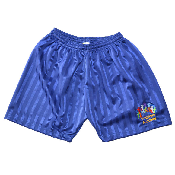 Royal Blue Shadow Shorts with Magdalen embroidery