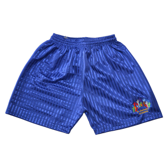 Royal Blue Shadow Shorts with St Germans embroidery