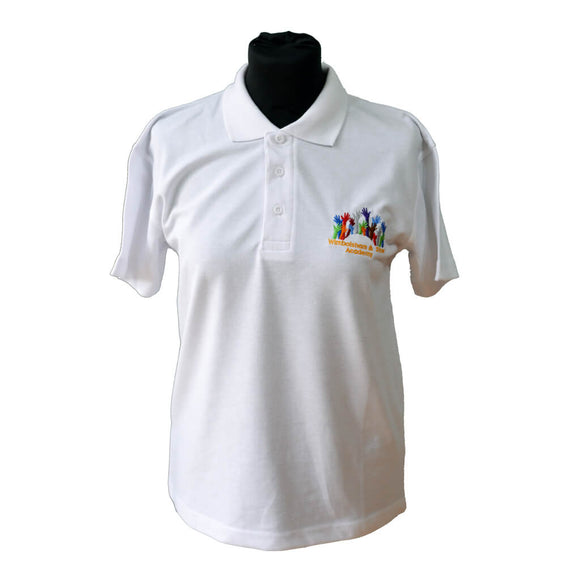 White Polo Shirt with Wimbotsham & Stow embroidery